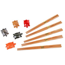 Load image into Gallery viewer, 5-Pr Chopsticks & Turtle Rest Gift Box Set (TW-A885-T-CHB)