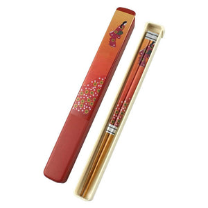 Single Pair Chopsticks with Case Set - Floral Pattern (TW-B-9360-R-CHB)