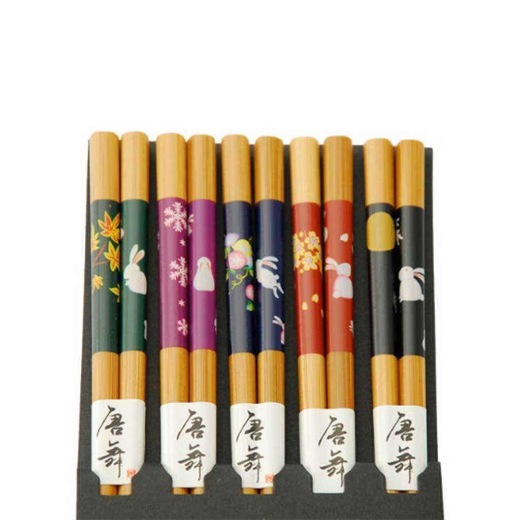 5-Pr Gift Set Chopsticks with Assorted Colour & Bunny Pattern (TW-CH67-CHB)
