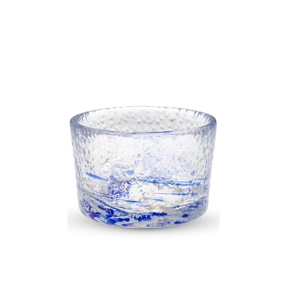Clear Glass with Blue Pattern Sake Cup - 2 oz. (TW-GL-MF18026-BRG)