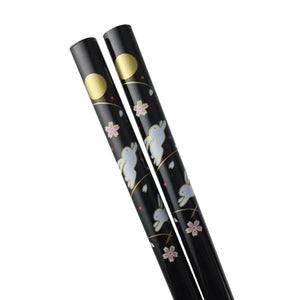 Chopsticks with Moon & Rabbit Pattern - 5 Pr/Set (TW-H101-CHB)