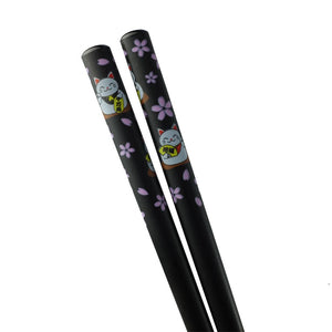 Chopsticks with Lucky Cat Pattern - 5 Pr/Set (TW-H105-CHB)