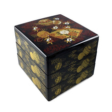 "Load image into Gallery viewer, 7.5"" 3-Tier Square Ornaments & Fans Patterned Lacquer Bento Box (TW-IL3-SM-BBL)"