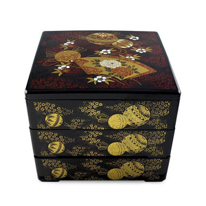 "7.5"" 3-Tier Square Ornaments & Fans Patterned Lacquer Bento Box (TW-IL3-SM-BBL)"