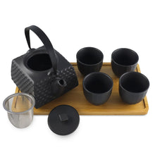 Load image into Gallery viewer, 5-Pc Ceramic Tea Set with Nailhead Pattern - Tea Pot - 24 oz. (TW-JHS4-BK-TPP)