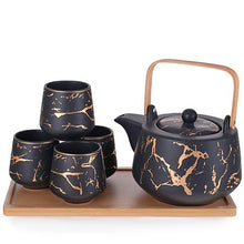 Load image into Gallery viewer, 5-Pc Ceramic Tea Set with Marble Flecks - Tea Pot - 37 oz. (TW-JHS8-BK-TPP)