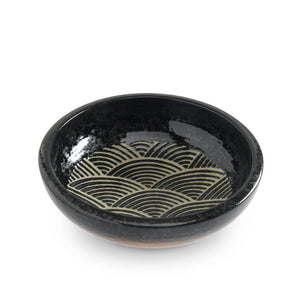 "8"" Black Shallow Bowl with Nami (TW-K58-KS-BWP)"