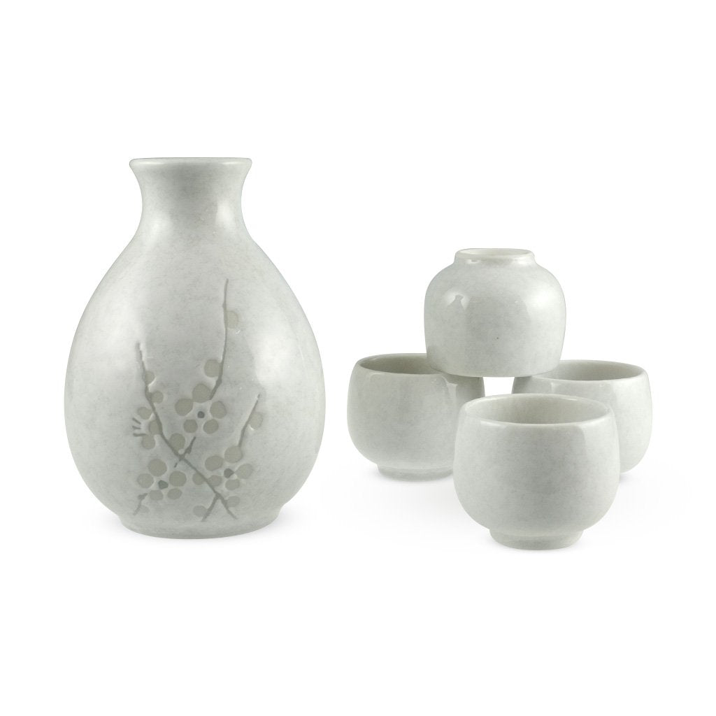 5-Pc Sake Set with White Cherry Blossom Patterned (TW-K7-WP-BRP)