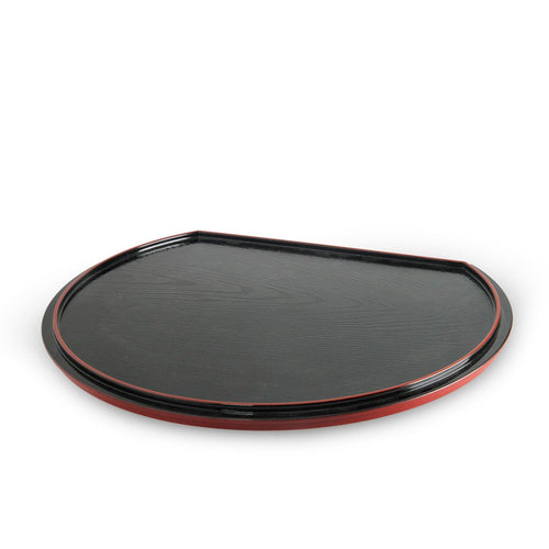 Half Moon Lacquer Tray with Red Trim (TW-OS16-M-TYL)