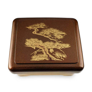 Unagi Lunch Box with Gold Japanese Pine Patterned (TW-SAN-1-B-SSL)