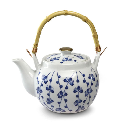 Blue Blossom Teapot with Bamboo Handle -  40 oz. (TW-TP22-TPP)
