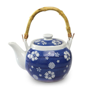 Japan Floral Teapot with Bamboo Handle - 40 oz. (TW-TP43-TPP)