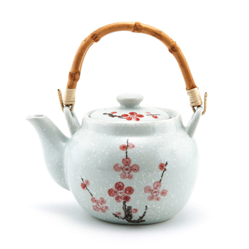 Japan Floral Teapot with Strainer and Bamboo Handle - 42 oz. (TW-TP46-TPP)