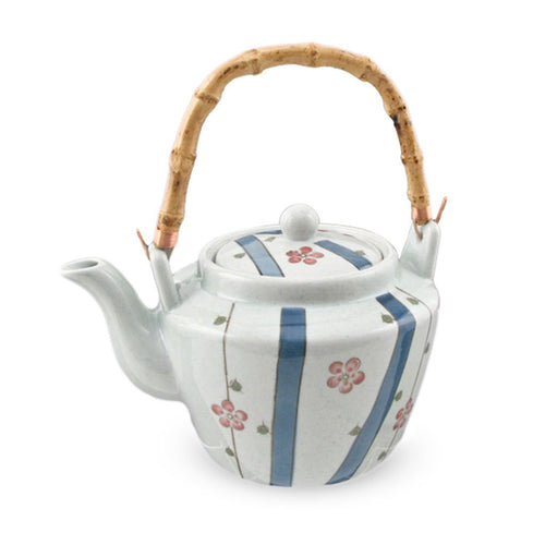 Sakura Pattern Teapot with Bamboo Handle & Stainless Steel Mesh Strainer - 68 oz. (TW-TP71-TPP)