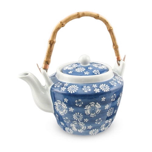 Japanese Flowers Pattern Teapot with Bamboo Handle & Stainless Steel Mesh Strainer - 68 oz. (TW-TP73-TPP)