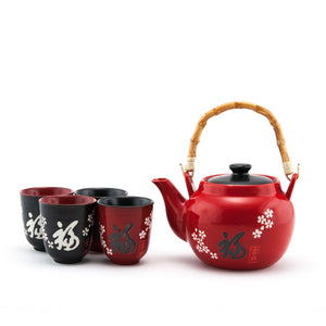 "5-Pc ""Good Fortune"" Pattern Tea Set - Tea Pot - 42 oz. (TW-TPS4-333-TPP)"