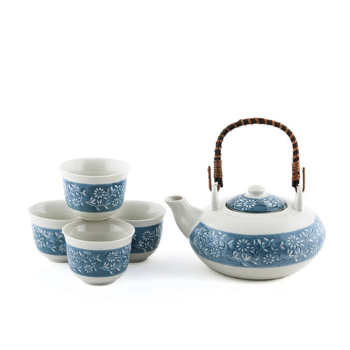 1:4 Floral Pattern Tea Set - 28 oz. (TW-TPS6-146-TPP)