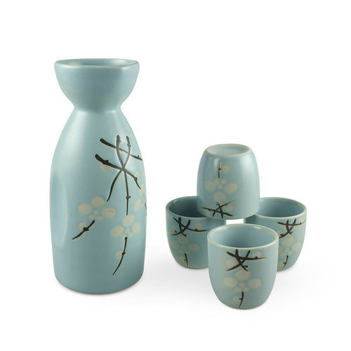 5-Pc Sake Cherry Blossom Pattern Gift Box Set (TW-TSS1-722-BRP)