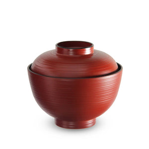 "4.25"" Lacquer Horizontal Textured Stripe Soup Bowl with Lid - 10 oz. (TW-WF201-R-BWL)"