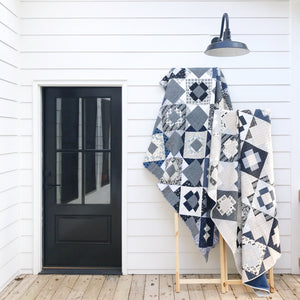 Black White Blue & Flax Linen Meadowland Quilt