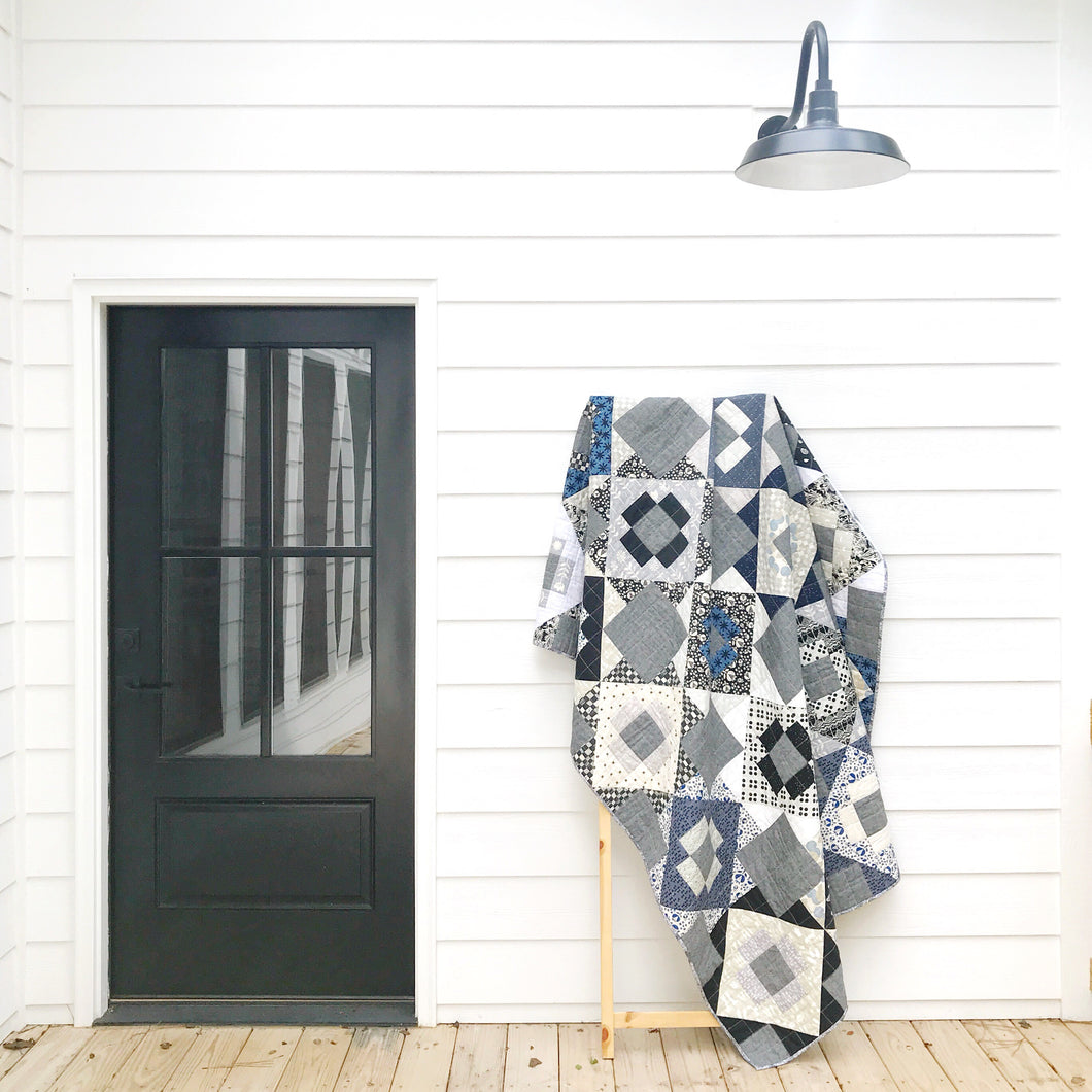 Black White & Blue Meadowland Quilt