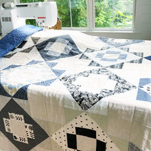 Load image into Gallery viewer, Black White Blue & Flax Linen Meadowland Quilt