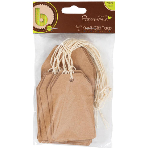 Papermania Bare Basics Natural Kraft Tags W/String 20/Pkg