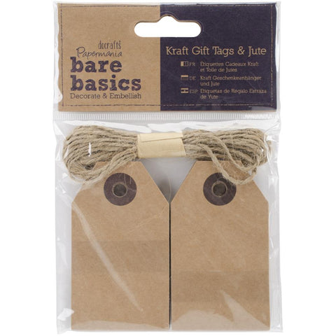 Papermania Bare Basics Natural Kraft Tags W/Jute 20/Pkg