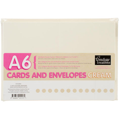 Couture Creations A6 Cards W/Envelopes 50/Pkg