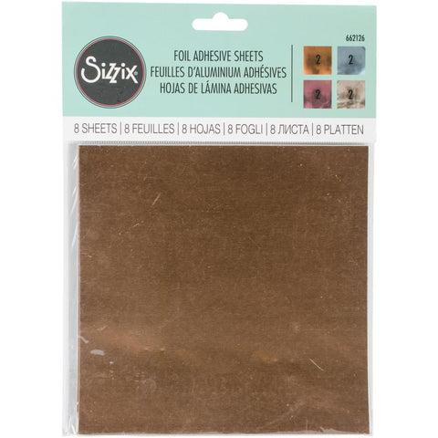 Sizzix Adhesive Foil Sheets 6X6 Assorted 8/Pkg