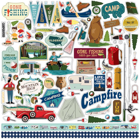 "Gone Camping Cardstock Stickers 12""X12"""