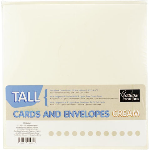 Couture Creations Tall Cards W/Envelopes 50/Pkg