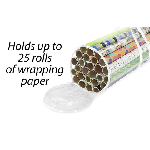 Image of Clear Zippered Storage for 25 Rolls of Gift Wrap Organizer