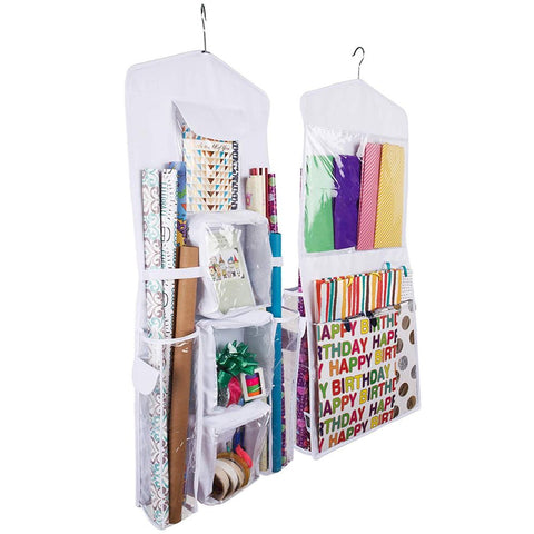 Double-Sided Hanging Gift Bag and Gift Wrap Organizer