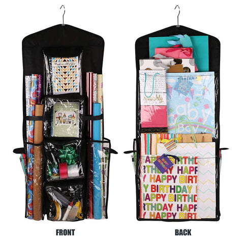 Image of Double-Sided Hanging Gift Bag and Gift Wrap Organizer