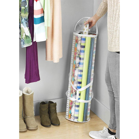 Clear Zippered Storage for 25 Rolls of Gift Wrap Organizer