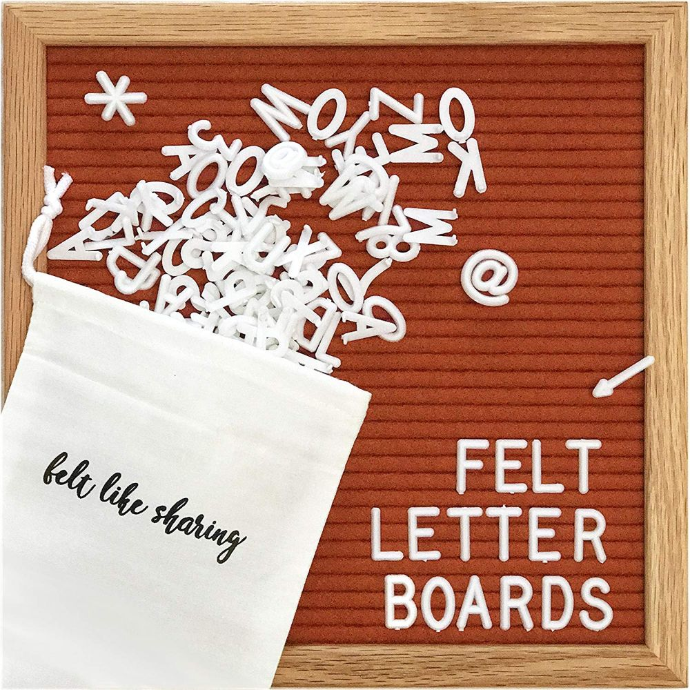 Felt Letter Board with White Plastic Letters
