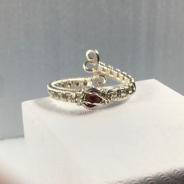 Garnet Wire Wrapped Ring