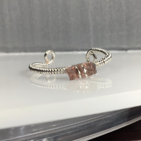 Unique 0.30 carat Pink Tourmaline Sterling Silver Wrap & Mixed Metal Base Wire.   (Adjustable- 1 size fits most) Mined in Maine.