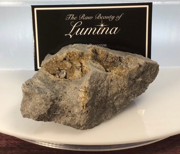 This Unique Business card holder is perfect for the office, home business or for that special someone.   This business card holder contains a Herkimer Diamond and Druzy in a Dolomite Matrix.  This piece was mined in Herkimer New York.  Formed over 500 millions years ago this is a one of a kind gift that cannot be duplicated.  Business Card Gap is 6mm