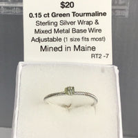 Unique, one of a kind 0.15 carat Green Tourmaline Ring, Sterling Silver Wrap Wire & Mixed Metal Base Wire  (Adjustable 1 size fits most).  Mined in Maine.