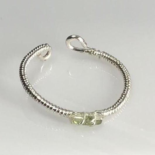 Unique 0.10 carat Green Tourmaline Sterling Silver Wrap & Mixed Metal Base Wire.   (Adjustable- 1 size fits most) Mined in Maine.