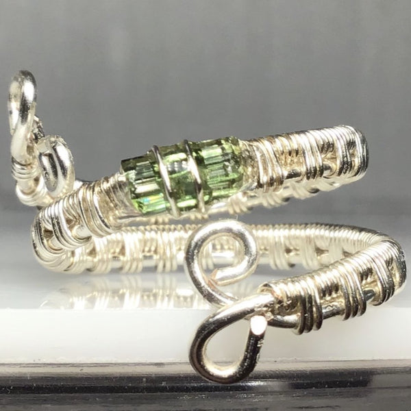 Green Tourmaline Sterling Silver Plated Wrapped Ring. Mined in Maine