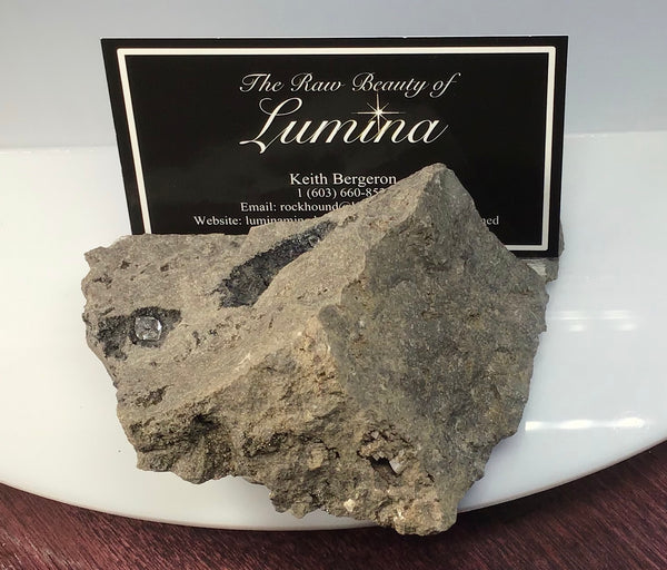 This Unique Business card holder is perfect for the office, home business or for that special someone.   This business card holder contains Herkimer Diamonds, Vugs of Druzy and Calcite Crystals in a Dolomite Matrix.  This piece was mined in Herkimer New York.  Formed over 500 millions years ago this is a one of a kind gift that cannot be duplicated.  Business Card Gap is 8mm