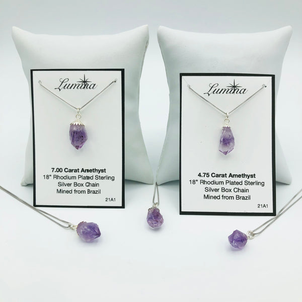 Amethyst on Rhodium Plated Sterling Silver Box Chains (One necklace per order. Props are not included)