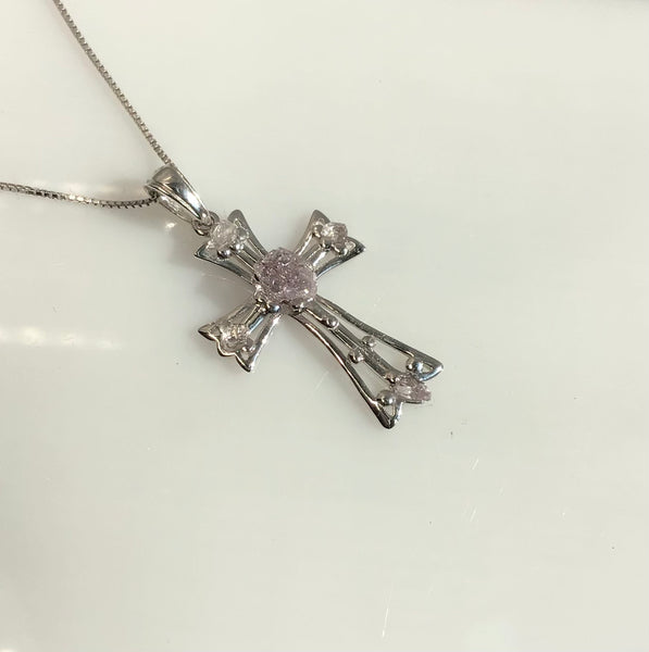 "0.75 Total Carat Weight (TCW) Amethysts on Rhodium Plated Sterling Silver Cross & Rhodium Plated Sterling Silver 18"" Box Chain"