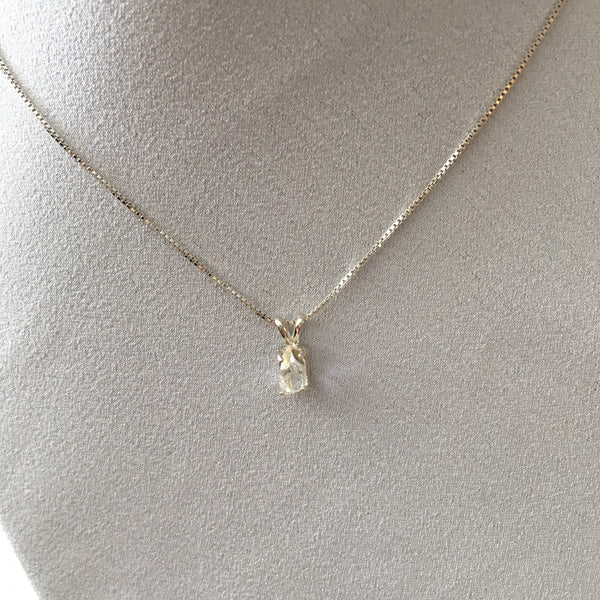 Herkimer Diamond Sterling Silver  Prong set Pendent on a Sterling Silver Box chain.