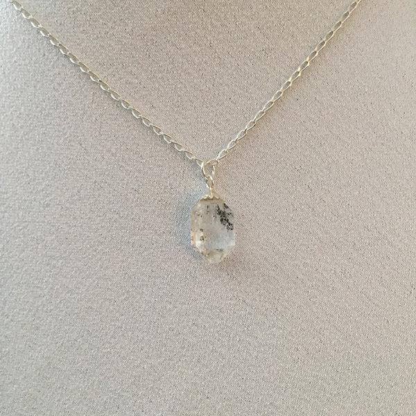 Herkimer Diamond 4.20 carat Sterling Silver curb chain Necklace