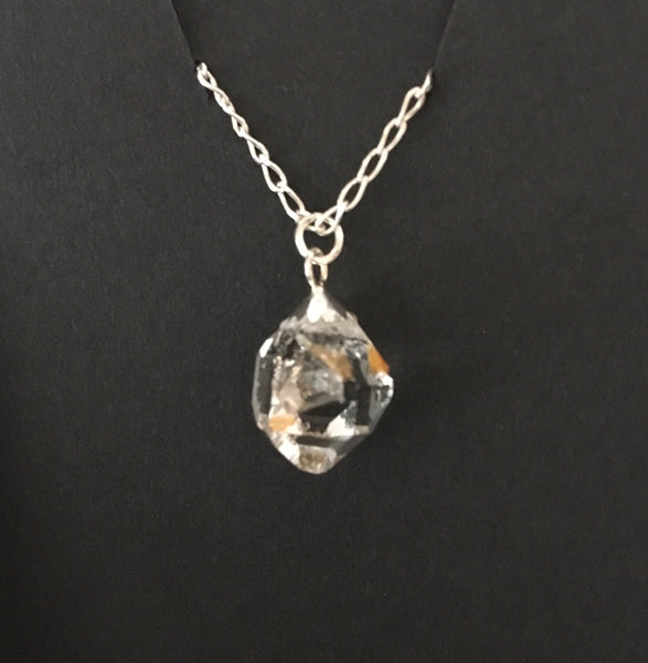 "5.55 ct, Grade B Herkimer Diamond Necklace  Unique Golden Healer Crystal or Iron Oxide Crystal  Sterling Silver 18"" Curb Chain  Mined in Herkimer New York"