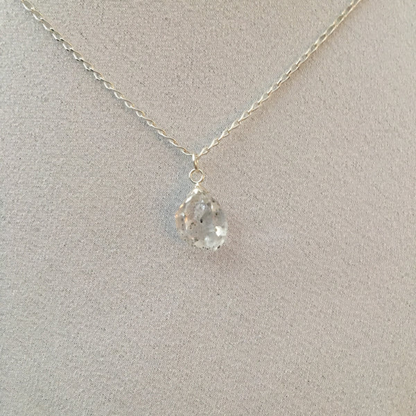 Herkimer Diamond 4.55 carat Sterling Silver curb chain Necklace